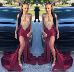 f14d541c6a2 Two piece dresses shorT prom girl online shopping - Gold Mermaid Prom  Dresses Long Sleeves Deep