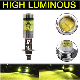 h1 yellow bulb UK - Fog Lights For Cars H1 2323 LED 100W Fog Driving light HID yellow 4300K Bulbs DRL Running Lamps Car Accessories #PY10