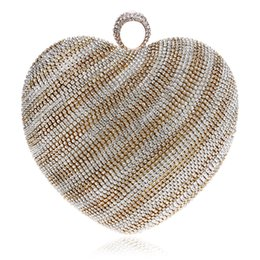 diamond shaped style bags UK - Socialite Women's Heart Shape Crystal Clutch Handbag and Purse Ladies Gold Evening Wedding Party Purse Chain Shoulder Bag Wristlet Bag Bolas