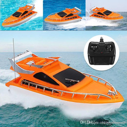 electric remote control airplanes 2018 - Orange Mini RC Boats Plastic Electric Remote Control Speed Boat Kid Chirdren Toy 26x7.5x9cm cheap electric remote contro