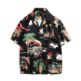 78ef9d7c41 2019 island Print Hawaiian Shirt Men Casual Tropical Holiday Beach Shirts  Summer Short Sleeve Loose Tops Palm Trees 3D Shirts