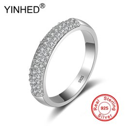 $enCountryForm.capitalKeyWord Australia - wholesale Half Band Circle Cubic Zirconia Wedding Rings for Women Pure Solid 925 Silver Engagement Ring Fine Jewelry Gift ZR515