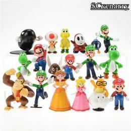 $enCountryForm.capitalKeyWord NZ - 18pcs  Lot Super Mario Bros Brinquedos Yoshi Dinosaur Peach Toad Goomba Pvc Action Figures Collectinble Model Toys