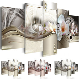 $enCountryForm.capitalKeyWord Australia - 5 Pcs set Canvas Print for Home Decor Mangnolia Flower Painting Canvas Wall Art Pictures for Home Living Room Decor ,Choose Color And Size(N