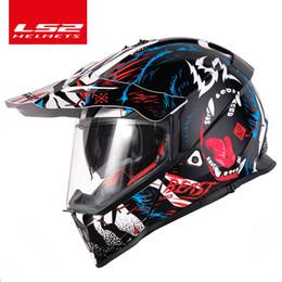 Ls2 Off Road Helmets Australia - Original LS2 PIONEER Motorcycle Helmet Motocross LS2 mx436 Off-Road Helmet double lens Motorcycle Helmets ECE approved