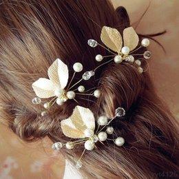 $enCountryForm.capitalKeyWord NZ - Chic Women's Hairpin Hair Clip Leaf Rhinestone Faux Pearls Hairpin Bridal Bobby Pin Bridesmaid Jewelry Hair Accessories
