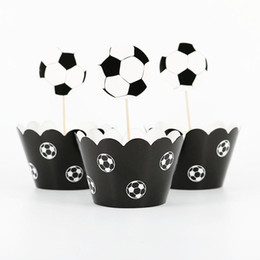 Cupcake Kids Australia - 24pcs lot World Cup Football Paper Cupcake Wrappers Toppers (12 wraps+12 topper) For Kids Party Birthday Decoration Cake Cups