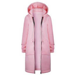 pink grey cardigan UK - Autumn Winter Long Cardigan Women Solid Color Hooded Coat Fall Warm Thick Poncho Female Zipper Fashion Coats Plus SizeTR