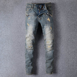 Hip Hop Pants Brands NZ - Wholesale Mens Distressed Ripped Biker Jeans Slim Fit Motorcycle Biker Denim For Men Brand Designer Hip Hop Man Luxury Jeans pants