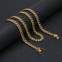 wholesale gold filled curb chain NZ - 8mm Curb Link Chain Stainless steel Gold Silver Men's Hip hop Link Necklace 10mm 12mm 14mm