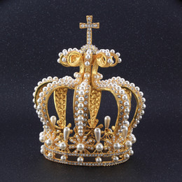 $enCountryForm.capitalKeyWord NZ - Baroque Gold Vintage Luxury Crown Hair Jewelry Queen Crown Princess Tiara for Girl Wedding Headpieces Bridal Round King Crown