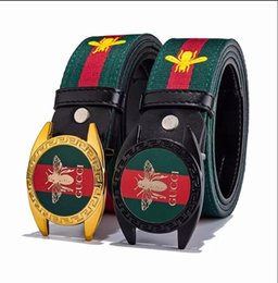 Star Belts Australia - 2019 luxury male belt brand bee buckle female belt famous star designer stripe belt new men and women universal accessories hot