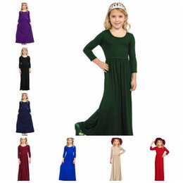 Discount european ball gowns - Girls Dresses Solid Colors Princess Maxi Dress Long Sleeve Kids Party Dresses Bohemian Girls Outfits Kids Clothing 8 Col