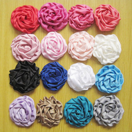$enCountryForm.capitalKeyWord Australia - Satin Rose Flower DIY Clothing Accessories For Baby Girl Headbands Hair Clips Girls Corsage Flower Hair Accessories Photography props