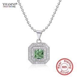 4d68f0723a9c YHAMNI riginal Pure Solid 925 Silver Necklaces Natural Green White CZ  Zircon Crystal Pendant Necklace Jewelry For Women ZD504