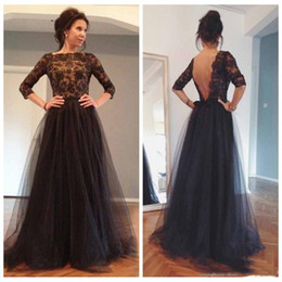 $enCountryForm.capitalKeyWord Australia - 2019 Classic Black Evening Dresses Abendkleider Gown Sexy Backless Lace Long Formal robe de soiree vestido de festa Half Sleeve Prom Dresses