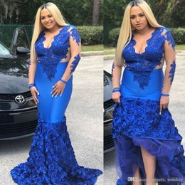 $enCountryForm.capitalKeyWord Australia - Royal Blue Evening Dresses Lace Appliques Plus Size 2019 Long Sleeves Black Girl Mermaid Prom Dresses V Neck Sweep Train 3D Flowers