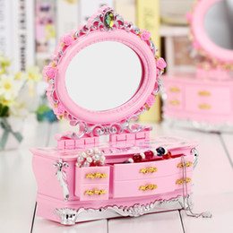 music box sales NZ - Fashion Hand cranked dresser Music box with mirror Women Dressing jewelry box Music Box For sale Home Decor plastic Craft Gift