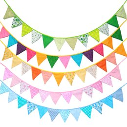 Birthday decoration flag online shopping - Candy Color Party Bunting Banner Cotton Cloth Hanging Baby Shower Birthday Flags Holiday Pennant Decoration