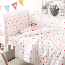 baby beds for girls 2019 - custom baby bedding set bumper pillowcase bed sheet heart design for girls crib set washable for 120x60 130x70 cheap bab