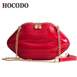 Lip Shapes Australia - HOCODO 2018 Fashion Women Patent Leather Red Lips Clutch Bag Ladies Chain Shoulder Bag Handbags Evening Bag Lips Shape Purse