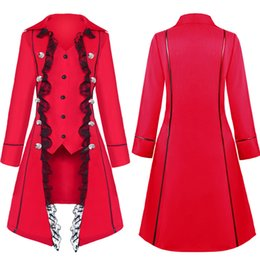 anime style clothing NZ - 2019 Autumn New Style cosplay Medieval Solid Color Long-sleeved Three-breasted Ladies coat Irregular Clothes Trench Coat for Women