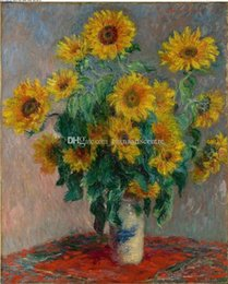 impressionist sunflower paintings Australia - A. Handpainted Bouquet of Sunflowers by Claude Monet Still Life Art Repro Oil Painting On Canvas Wall Art Home Office Deco High Quality l72
