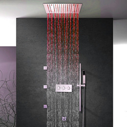$enCountryForm.capitalKeyWord Australia - Bathroom Ceiling Mounted Shower Set Faucet Tap Concealed Multi Functions diverter 304sus LED Rain Shower Head with hand spray and body jet