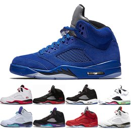 262b936462bb Blue suede 5 5s Basketball Shoes 2019 mens International Flight Red Suede  White Cement Sports Sneakers white Grapes Fire Red Sport Trainers