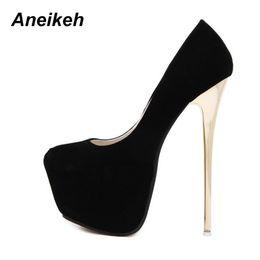 Shoes Aneikeh Sexy Pumps Wedding Women Fetish Concise Woman Pumps Latform  Very High Heel Stripper Flock Pumps 16 cm Size 34-40 870b7ef8bb07
