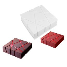 Wholesale 3D Mousse Cake Moulds Grid Block Clouds Ripple For Ice Creams Chocolates Cake Mold Pan Bakeware Geometric Shapes Art Baking Tools