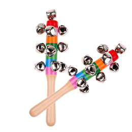 China bells stick Baby Toys Rattles Pram Crib Handle Wooden Bell Stick Shaker Rattle Cute Rainbow Newborn Baby Rattle Sound Toys Wooden Toy cheap wooden baby rattles suppliers