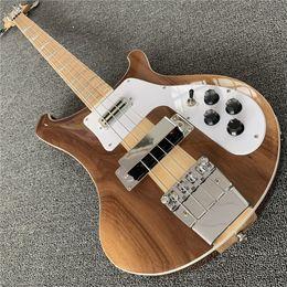 $enCountryForm.capitalKeyWord Australia - Free shipping 4003 Natural Walnut Bass 4 strings Bass Ric 4003 Abalone Triangle Inlays Electric Bass Guitar Maple Neck Thru Body One PC Neck
