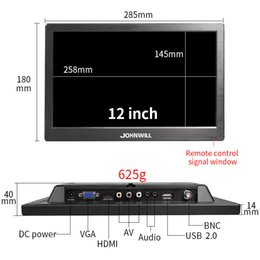 lcd monitor inch hdmi NZ - New 12 inch Security LCD LED Monitor CCTV Computer Monitors with Speakers AV BNC VGA HDMI USB Desktop monitors for PS4 PC XBOX