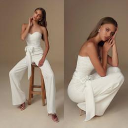 Gold belted weddinG dress online shopping - 2020 Julie Vino Boho Wedding Jumpsuits Sweetheart Lace Applique Belt Beach Wedding Dresses Custom Made White Bohemian Bridal Gowns Pant