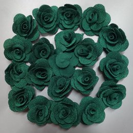 cloth flowers bouquet NZ - 100Pieces Bag Atrovirens 4CM Fabric Rose Flower Handmade Cloth Flowers Hand DIY Material Wedding Bouquet Hair Cloth Accessories