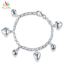 $enCountryForm.capitalKeyWord Australia - Solid 925 Sterling Silver Dangle Hearts Bracelet Baby Kids Girl Gift Children Jewelry CFB8005 Dropshipping Service Available