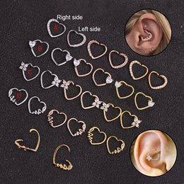 $enCountryForm.capitalKeyWord Australia - Feelgood 1PC Silver And Gold Color Copper Heart Daith Piercing Jewelry Cz Heart Hoop Helix Cartilage Earring Tragus Rook Ring