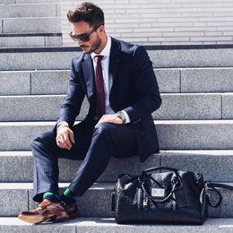 Beige Slim Suits For Men Australia - Men Suits 2018 Slim Fit Black Stripe Suits Business Tuxedo Blazer Custom Formal 3 Piece Traje Hombre Wedding For Men