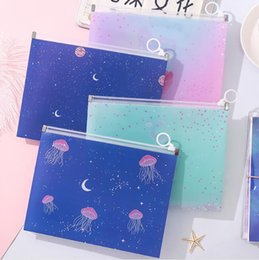 stationery files Canada - Kawaii A5 Planet Jellyfish Fruits PP Transparent Document Bags File Folder Storage Bags Stationery Organizer Escolar Papelaria Gifts