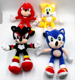 anime sonic toy NZ - 25cm NNew Arrival Sonic the hedgehog Sonic Tails Knuckles the Echidna Stuffed animals Plush Toys gift free shipping