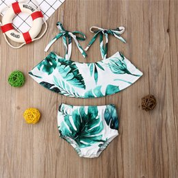 child girls bathing suits Australia - Summer Kids Swimwear Toddler Baby Girls Leaves Print Bikini Swimsuit Children Swimming Bathing Suit Top+Shorts Beachwear 1-6T