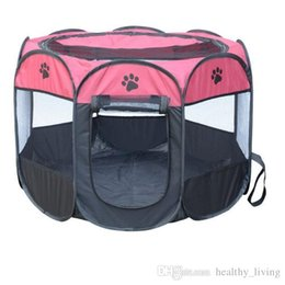 $enCountryForm.capitalKeyWord Australia - HOT Portable Folding Pet Tent Dog House Cage Dog Cat Tent Playpen Puppy Kennel Easy Operation Octagonal Fence Outdoor Supplies Top Quality