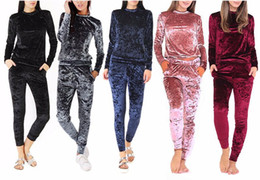 $enCountryForm.capitalKeyWord Australia - Sha 3xl 6 Color Velvet Tracksuit Women Costume Velvet Set Long Sleeve Top+pant Velour Tracksuit Sets For Women Sporting Suit
