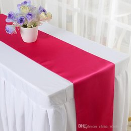 $enCountryForm.capitalKeyWord Australia - 30*275cm 15 color Silk Satin Table Runner For Hotel Restaurant Wedding Party Banquet Festival Decoration Free Shipping