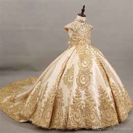 $enCountryForm.capitalKeyWord NZ - Sparkly Gold Lace 2019 Flower Girls Dresses For Wedding Vintage High Neck Hollow Back Sequins Beaded Rhinestones First Communion Dress