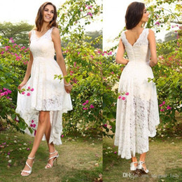 cowgirl dresses UK - High Low Wedding Dresses 2018 Modest Full Lace V-neck Summer Holiday Seaside Beach Bohemian Cowgirl Bridal Reception Dress