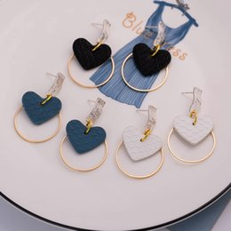 $enCountryForm.capitalKeyWord Australia - Hot sell fashion sand silver earrings Personality creative heart-shaped leather earrings manufacturers spot direct sales