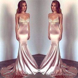 $enCountryForm.capitalKeyWord Australia - Blush Pink Mermaid Evening Dresses 2019 Sexy Spaghetti Straps Lace Applique Silk Stain Party Wear Prom Dresses Formal Gowns Custom