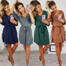 $enCountryForm.capitalKeyWord UK - New 2019 Spring Fashion Sexy Women Casual V Neck Solid Design Buttons Half Sleeve Dress Sundress With Bow Belt For Female designer clothes